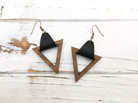 Faux Leather and Walnut Hook Earrings - Black