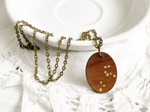 Zodiac Constellation Necklace - Gold Leo