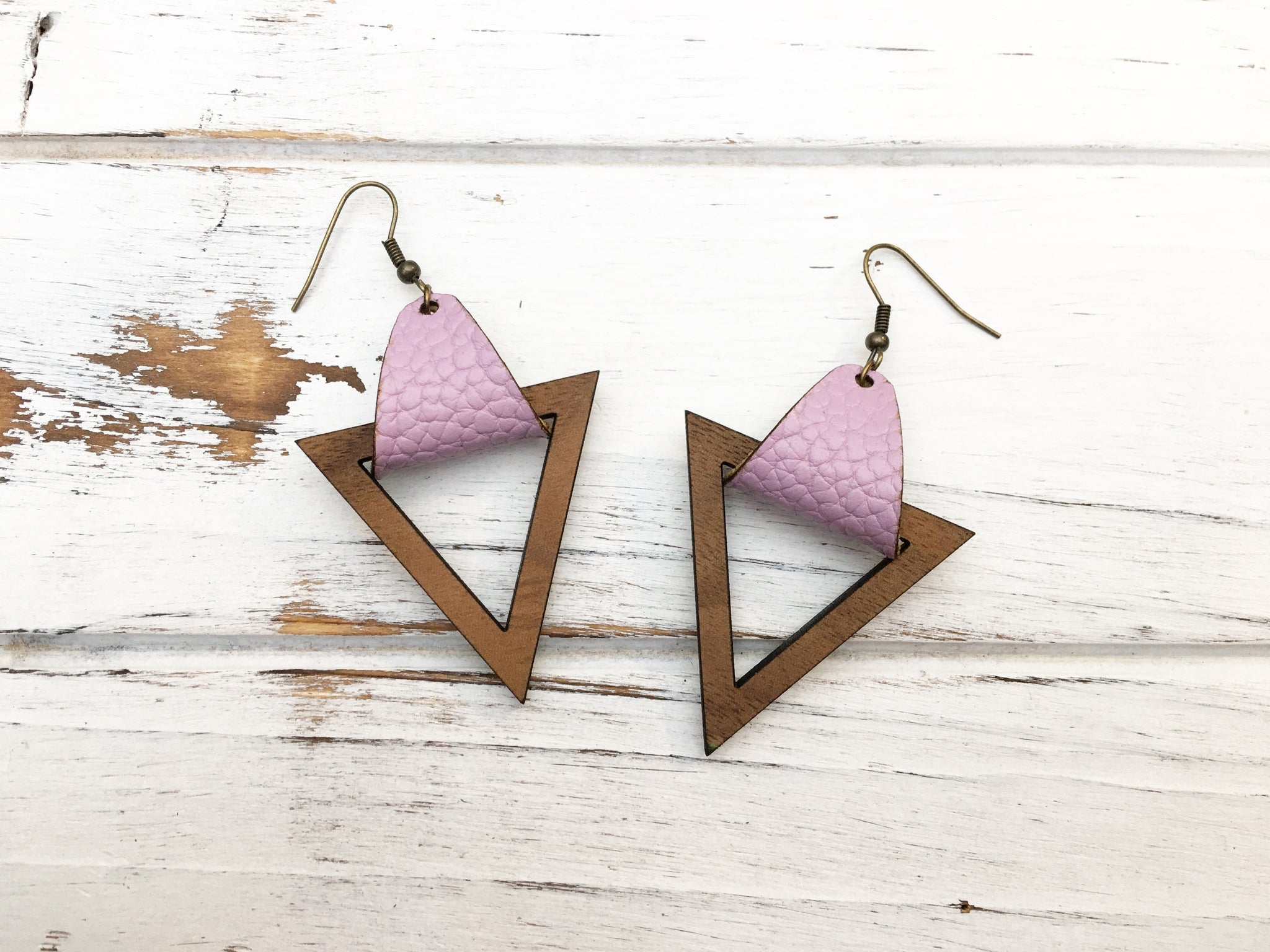 Faux Leather and Walnut Hook Earrings - Lilac