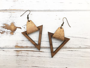 Faux Leather and Walnut Hook Earrings - Gold Flecked Cork