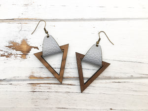 Faux Leather and Walnut Hook Earrings - Light Grey