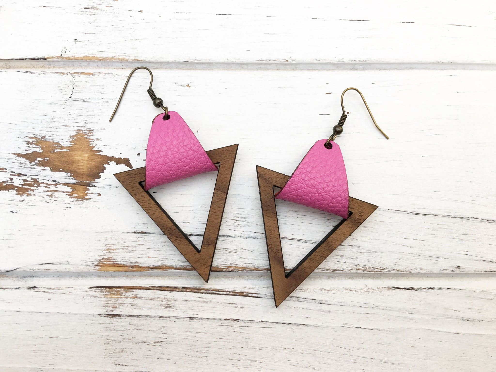 Faux Leather and Walnut Hook Earrings - Pink
