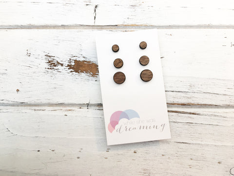 Walnut Wood Triple Pack Earrings - Circles