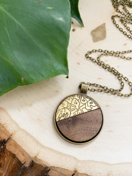 Walnut and Gold Monstera Necklace