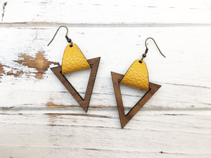 Faux Leather and Walnut Hook Earrings - Mustard
