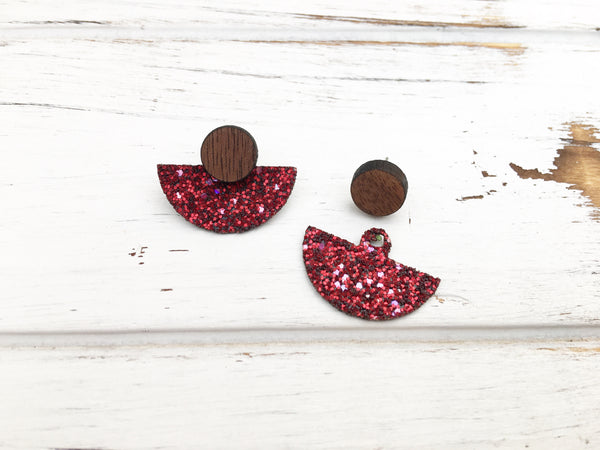 3 Styles in 1 Earrings - Red Glitter