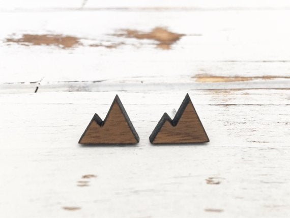 Walnut Wood Stud Earrings - Mountains