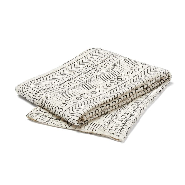 mud cloth throw white