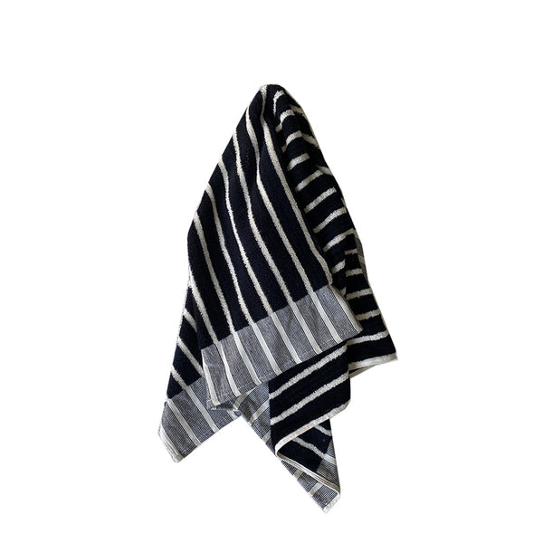 havva stripe bath mat black