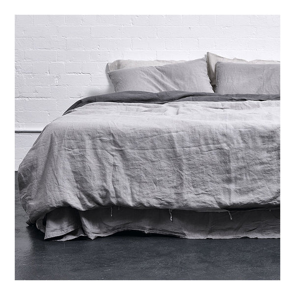 linen duvet cover king cool grey