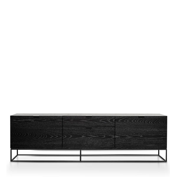 black oak and metal tv unit