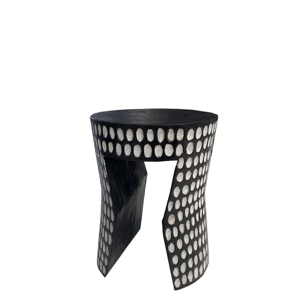 black + white carved suar stool
