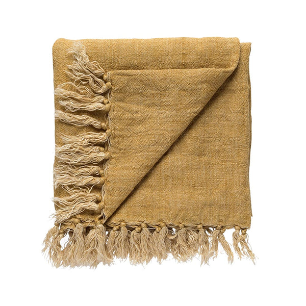 burton linen throw ochre