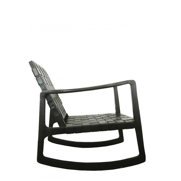 rocker chair - black leather