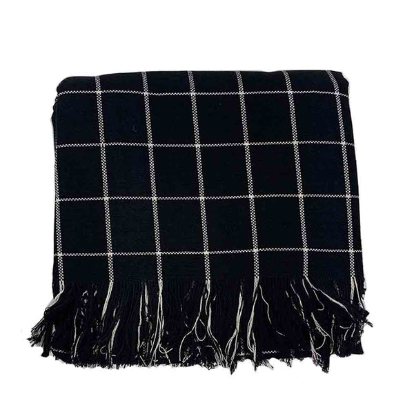 checkered throw black/natural
