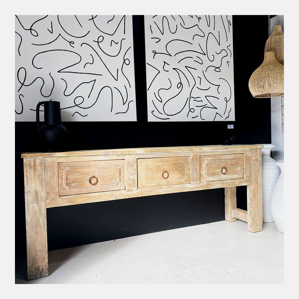 rustic 3 drawer console natural