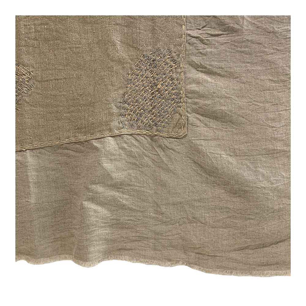 natural linen patched coverlet
