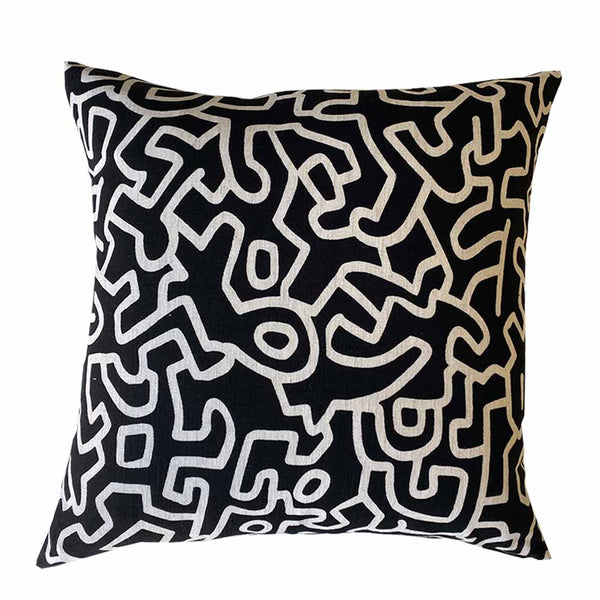 abstract cushion black/natural