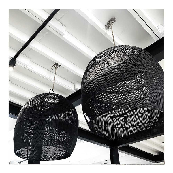 dome rattan pendant black