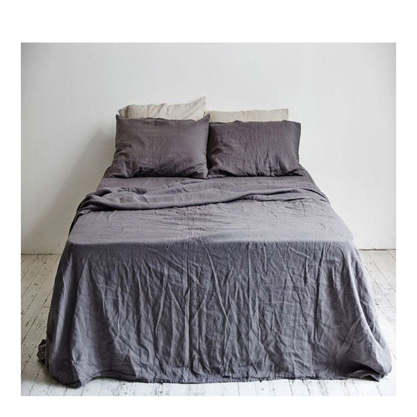 linen pillowslip set - charcoal