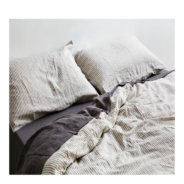 linen duvet cover king stripe