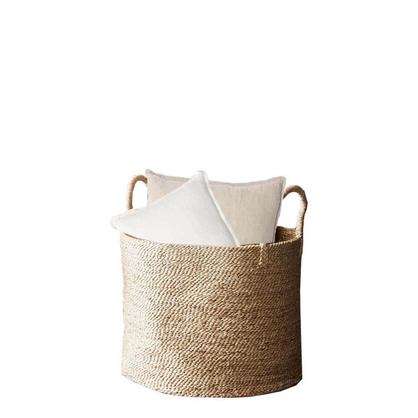 round jute basket - structured handle