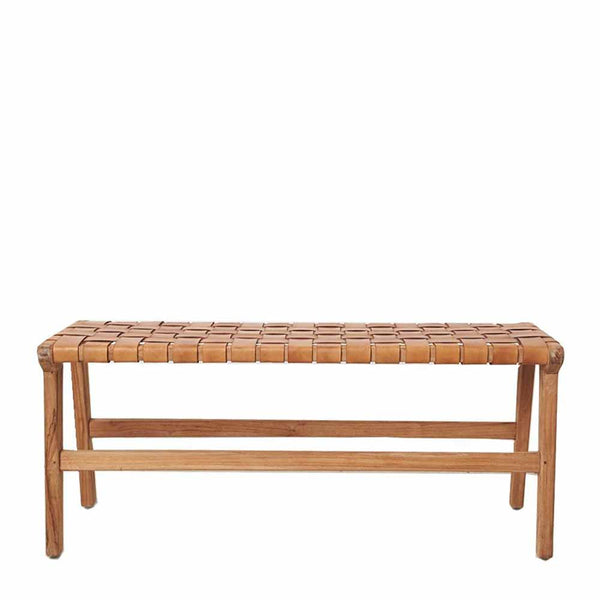 meki tan leather bench seat