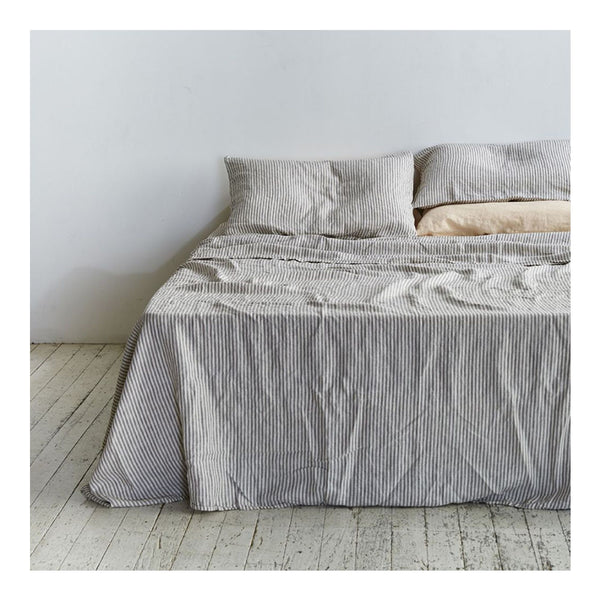 linen flat sheet queen stripe