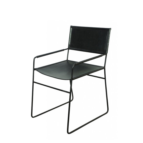 mak dining chair - black leather