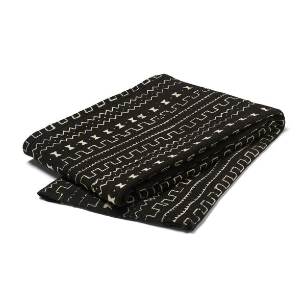 mud cloth throw black