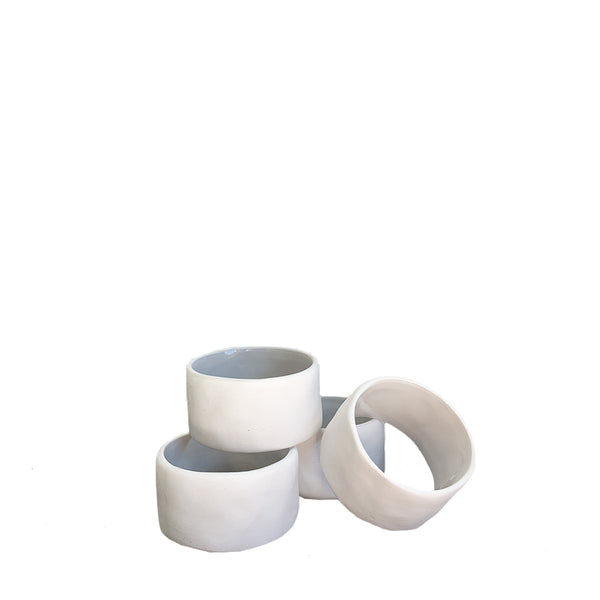 flax napkin ring white - set of 4