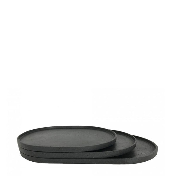 oval tray medium black
