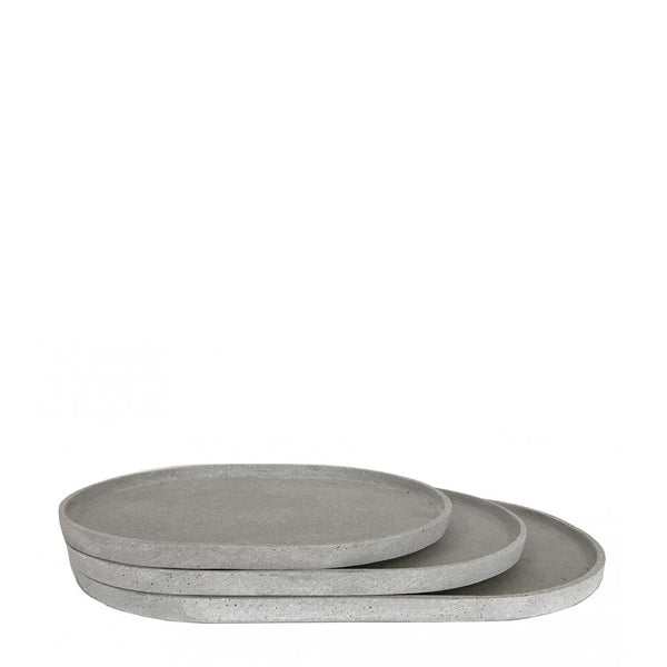 oval tray large grey