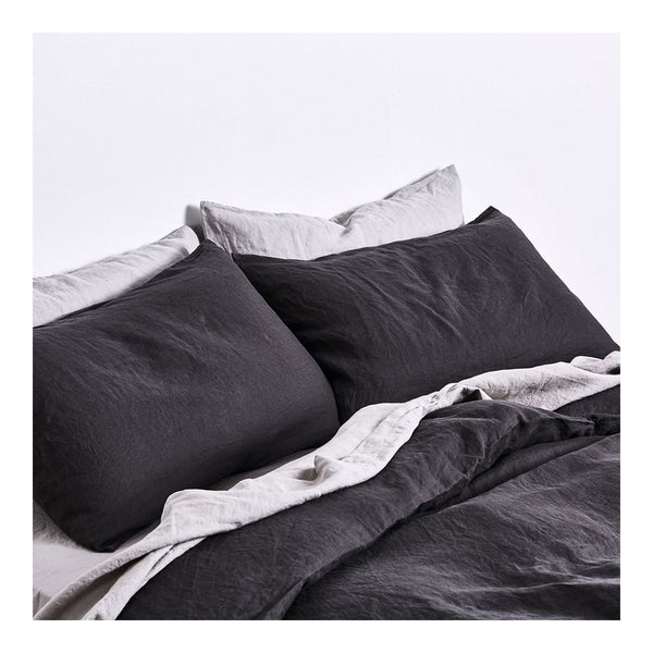 linen duvet cover queen - kohl