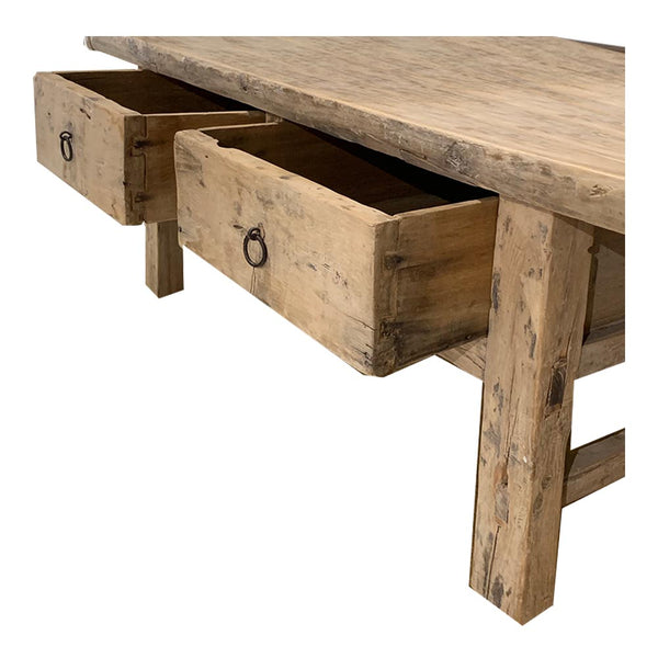 reclaimed timber coffee table two drawer