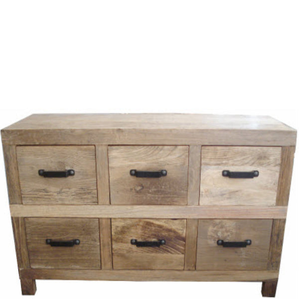 recycled elm 6 drawer console