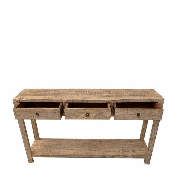 recycled elm 3 drawer console table