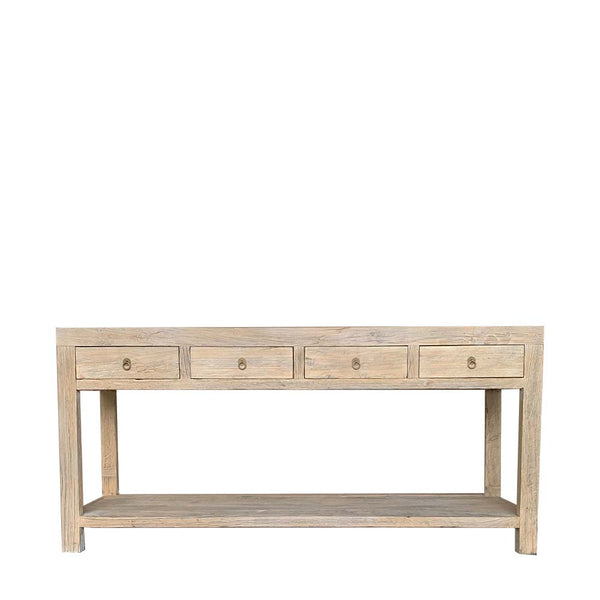 recycled elm 4 drawer console table