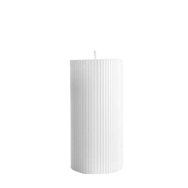 ripple pillar candle large pure white