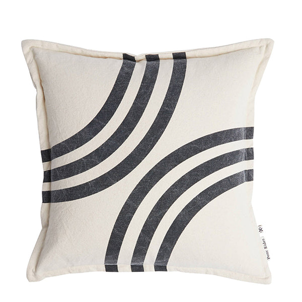 river bends cushion - shadow/oats
