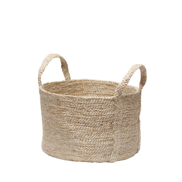 jute basket natural - round