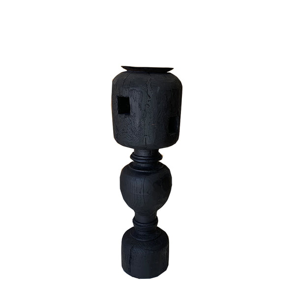 rustic candle base xlarge - black 1