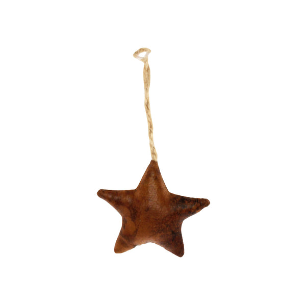 star ornament - tan leather