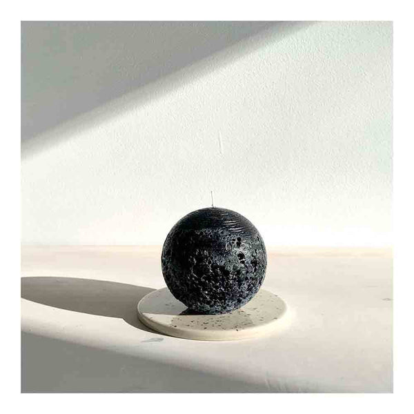 textured sphere candle small black