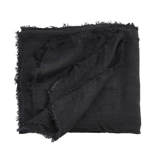 linen bed throw black