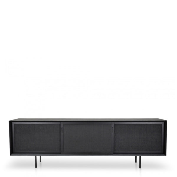 black oak rattan tv console