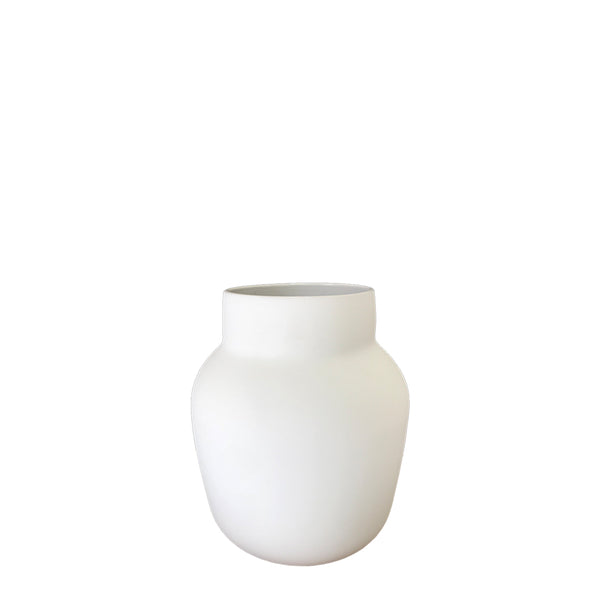 flax tub vase - snow white small