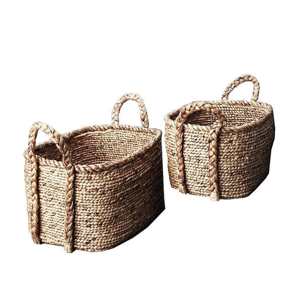 waterhyacinth oval plaited basket - small