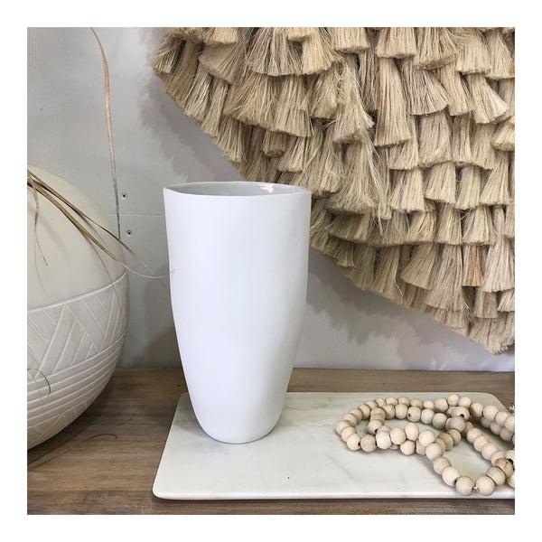flax tall vase white