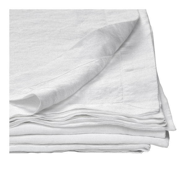 100% linen tablecloth - white medium